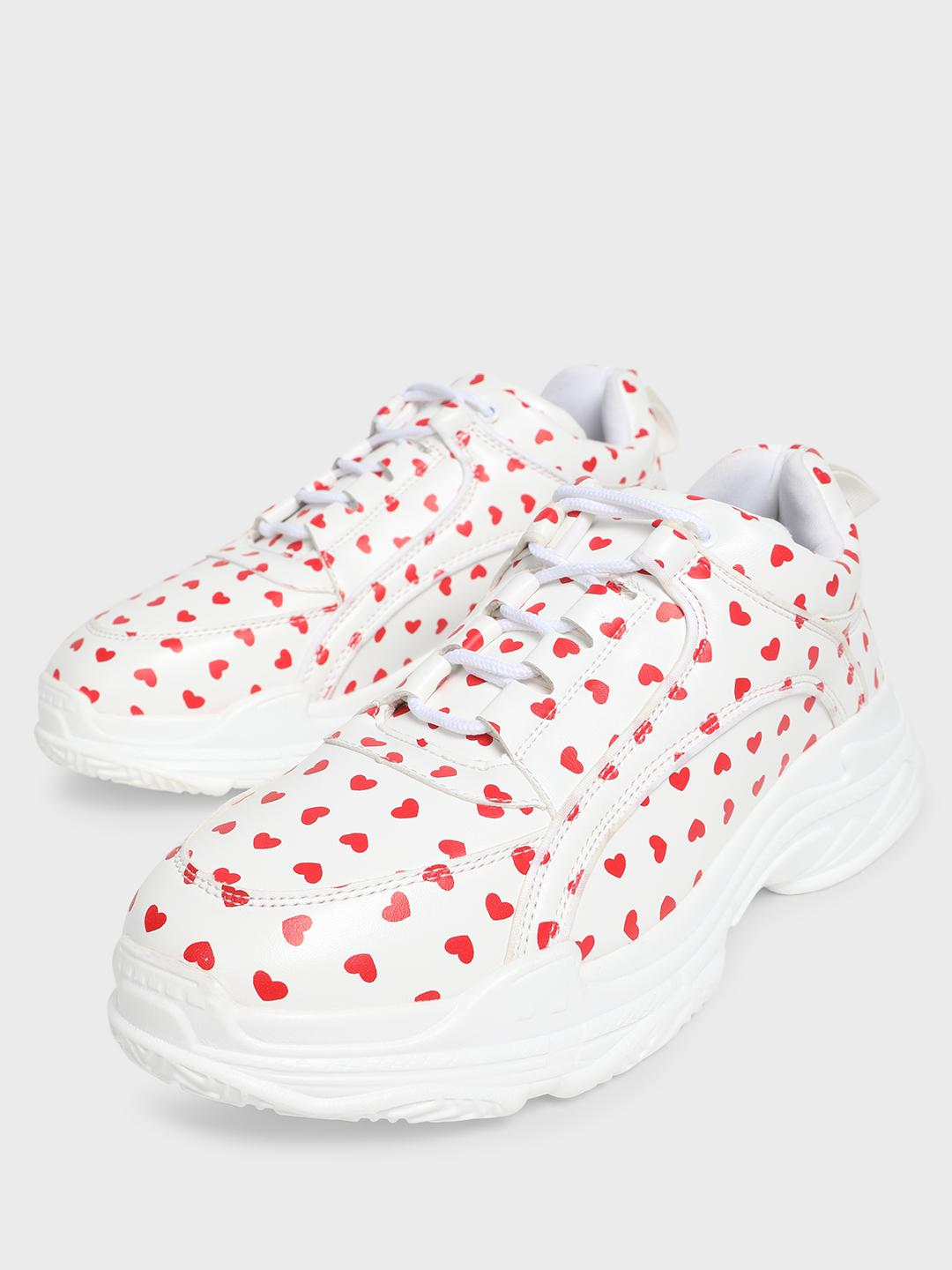 MFT Couture White MY FOOTCOUTURE Heart Print Chunky Sole Trainers 1