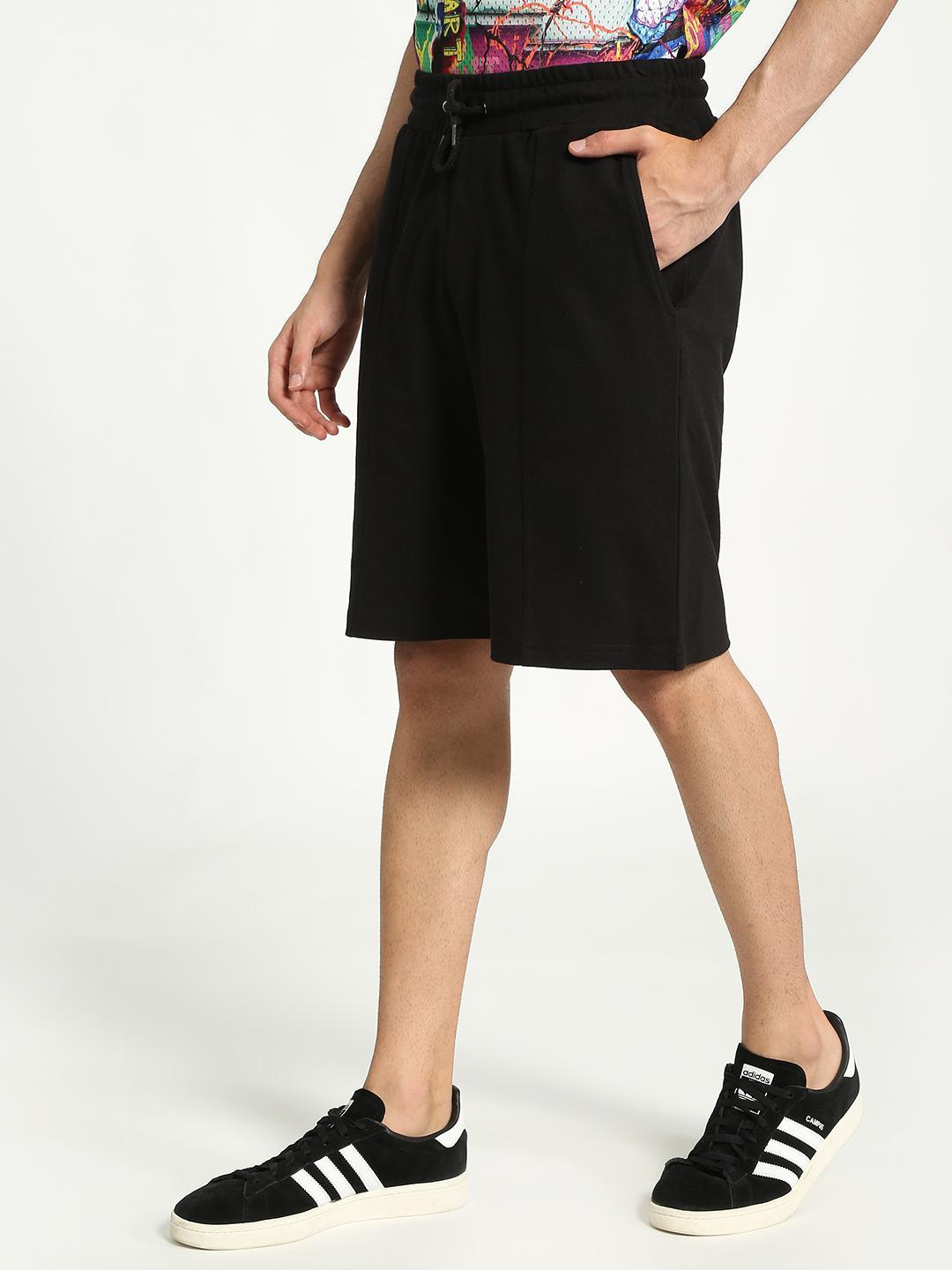 KOOVS Black Regular Knee-Length Shorts 1
