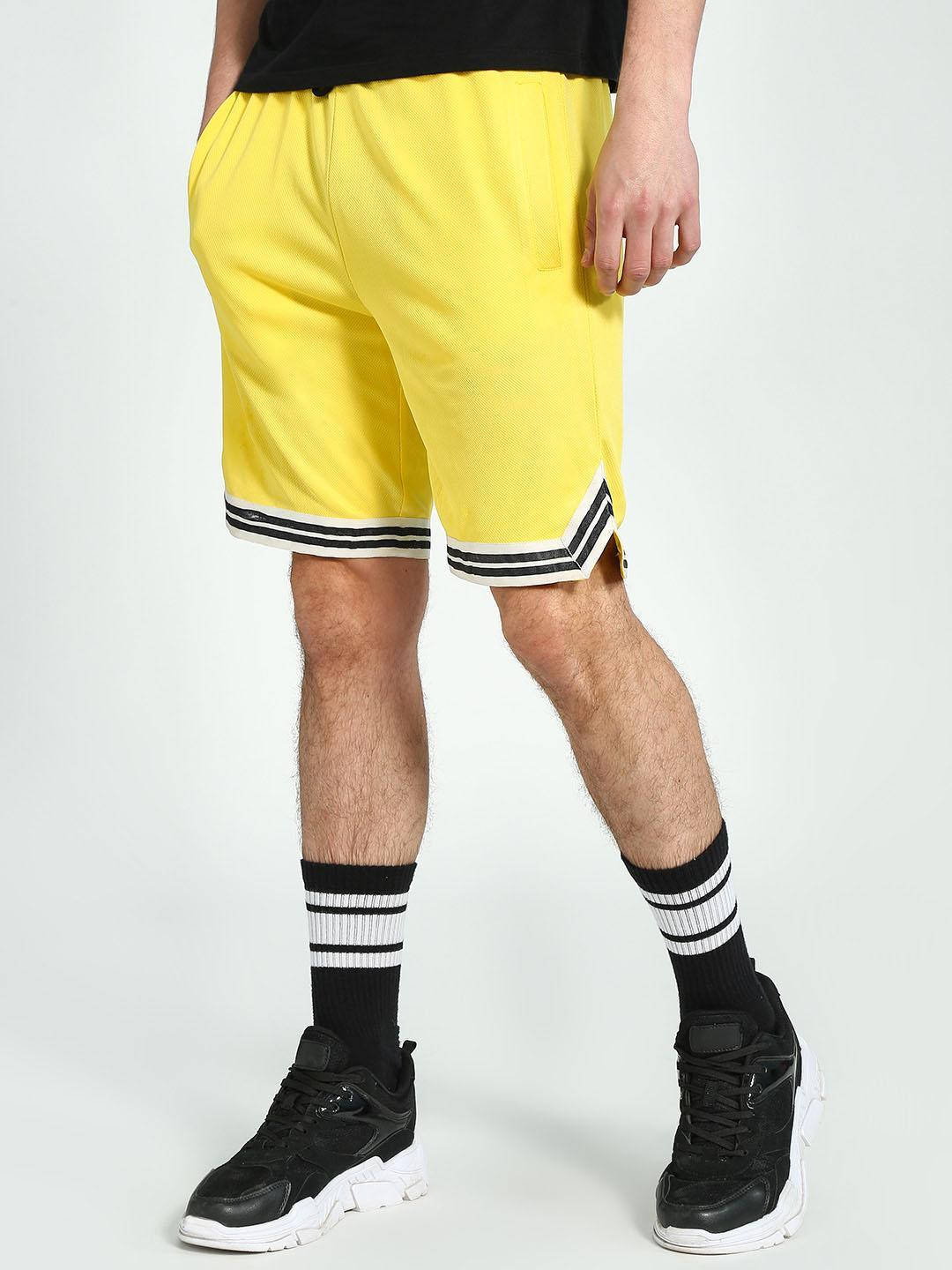 KOOVS Yellow Contrast Tape Trim Mesh Baseball Shorts 1