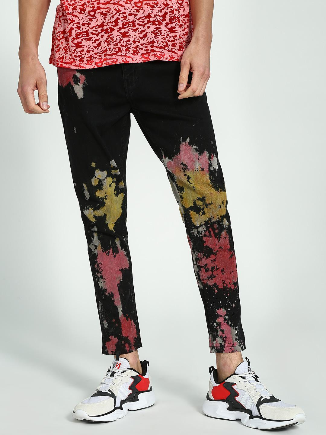 K Denim Black KOOVS Splatter Paint Cropped Slim Jeans 1