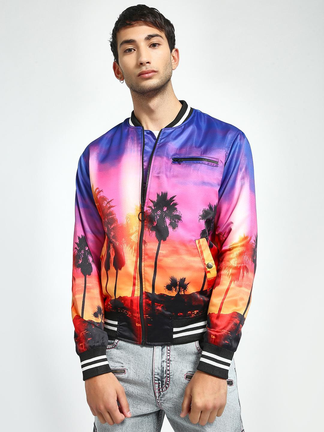 KOOVS Multi Californian Sunset Print Bomber Jacket 1