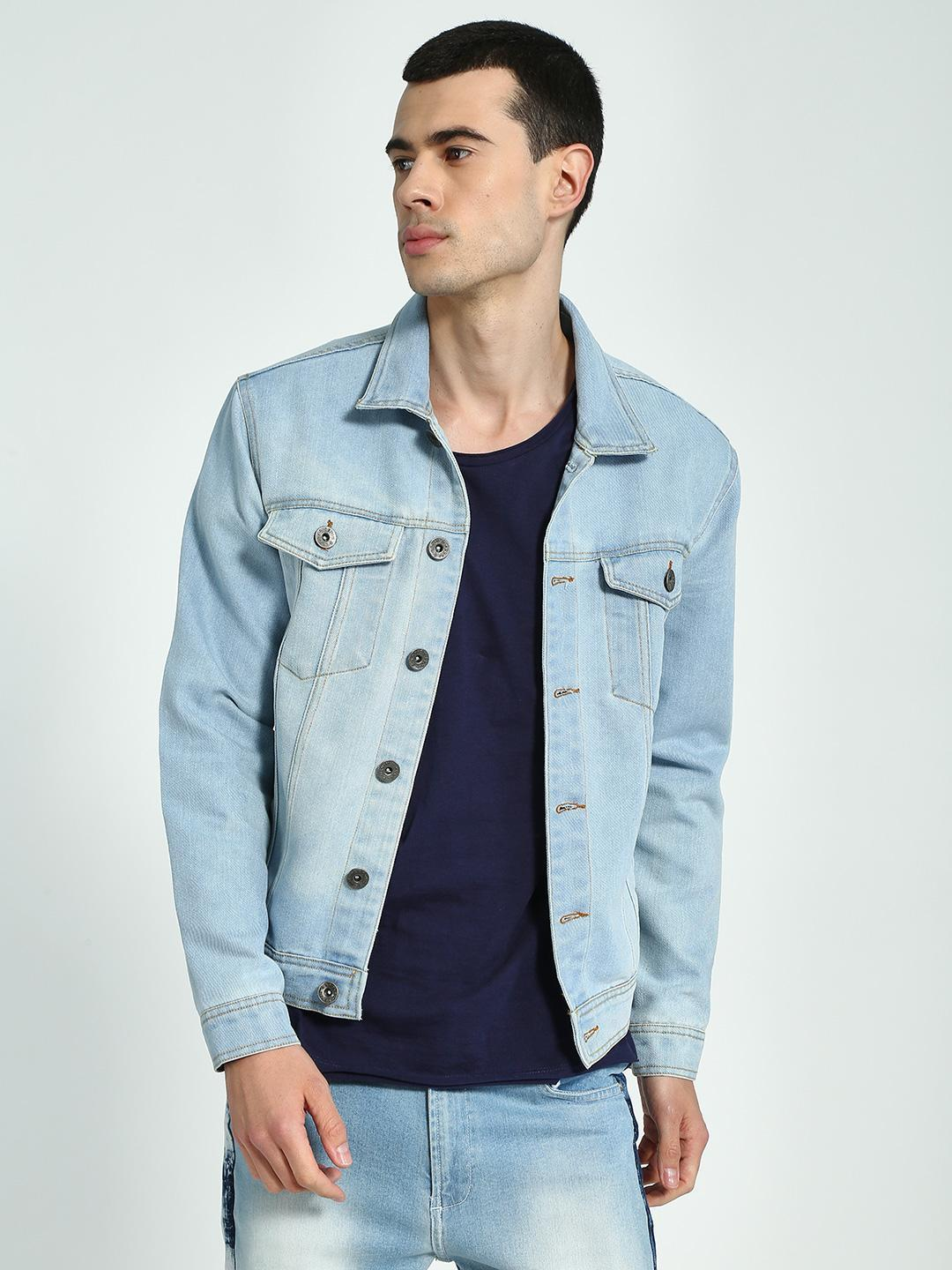 K Denim Ice Blue KOOVS Washed Denim Trucker Jacket 1