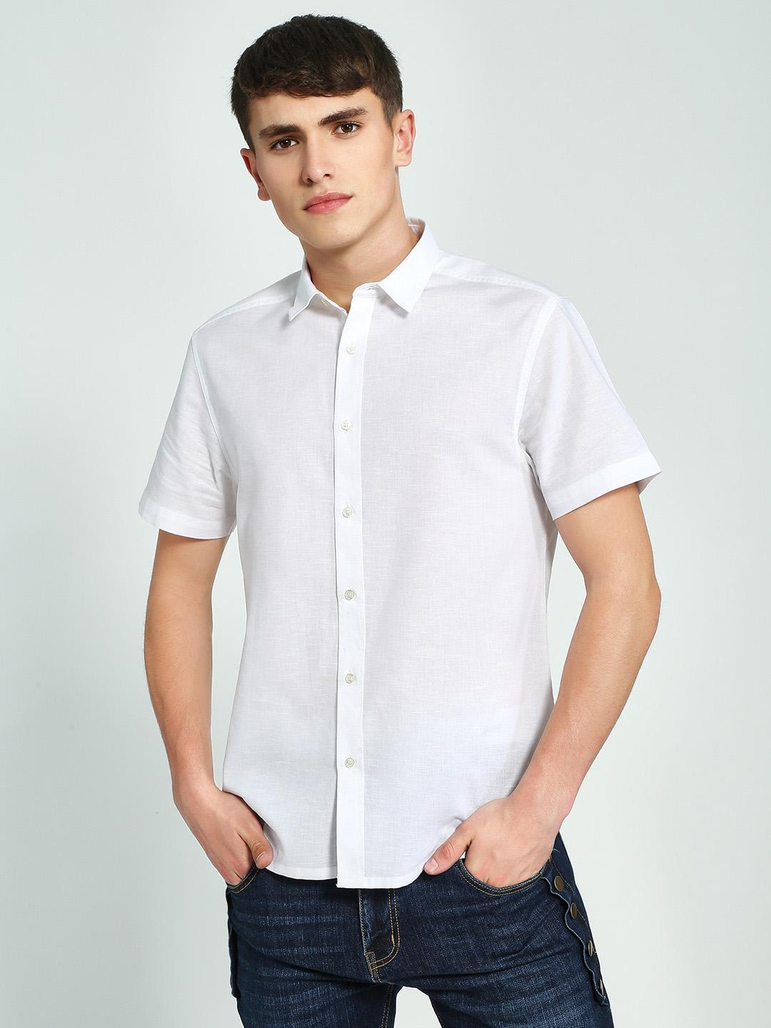 KOOVS White Short Sleeve Regular Shirt 1