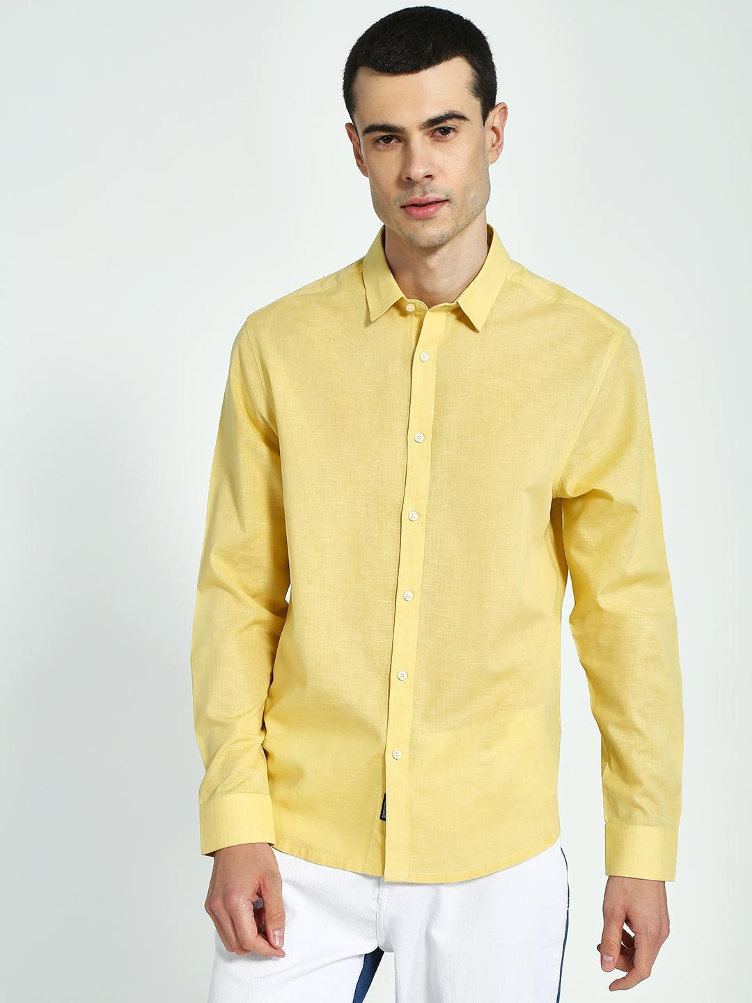 KOOVS Yellow Long Sleeve Regular Shirt 1