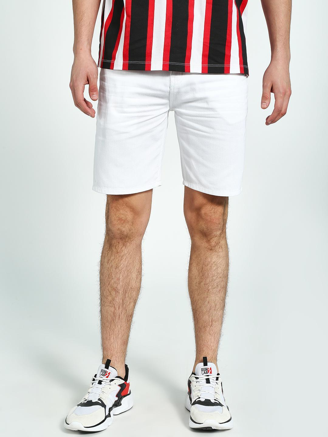 K Denim Off White KOOVS Slim Fit Denim Shorts 1