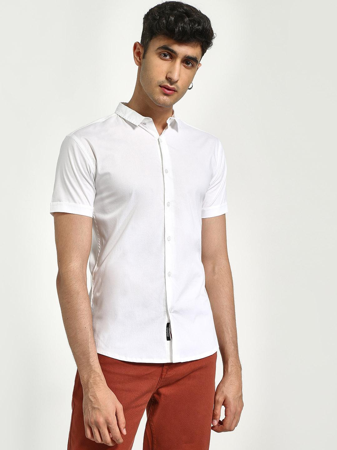 KOOVS White Muscle Fit Short Sleeve Shirt 1