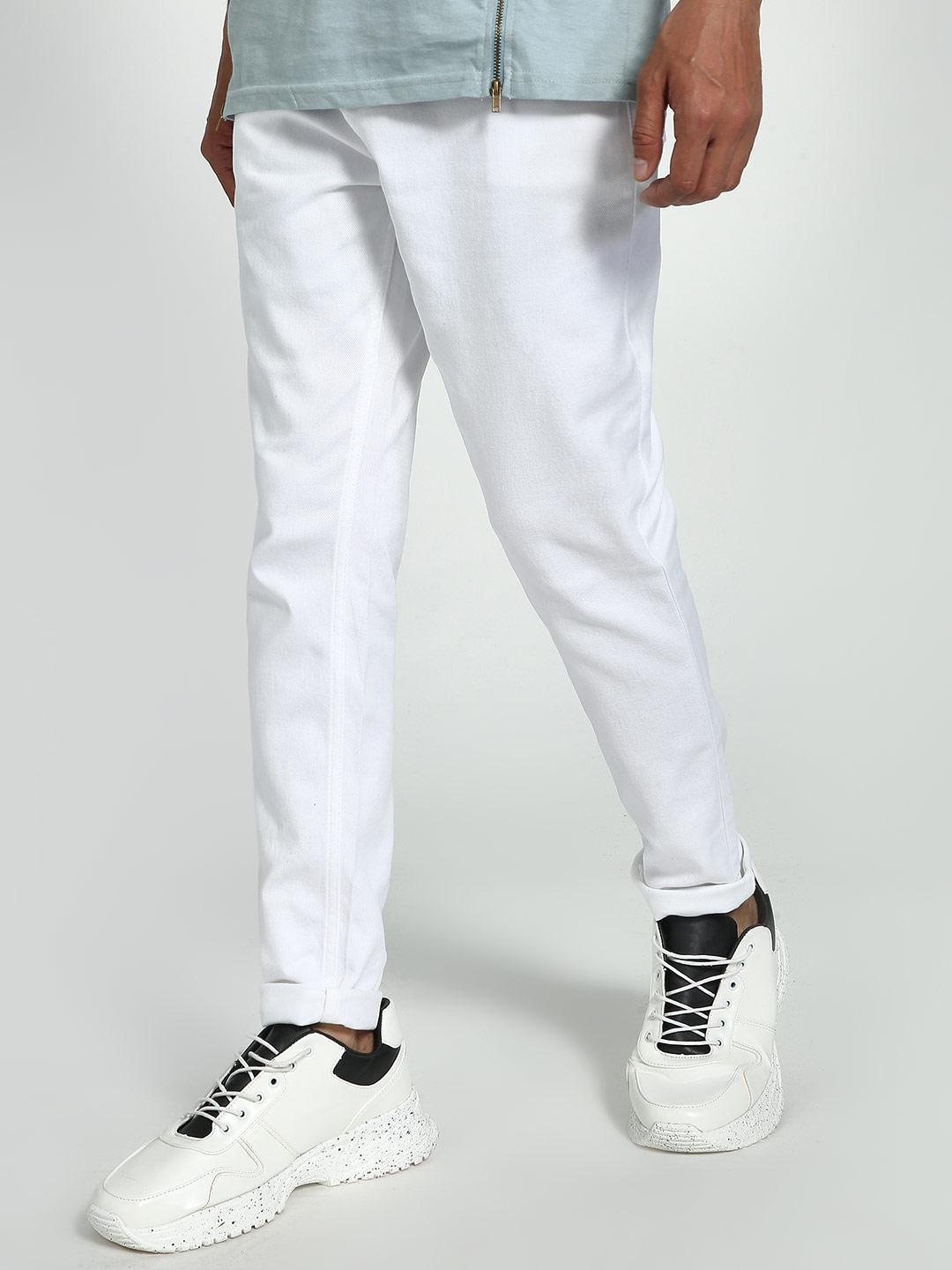 K Denim White KOOVS Slim Fit Jeans 1