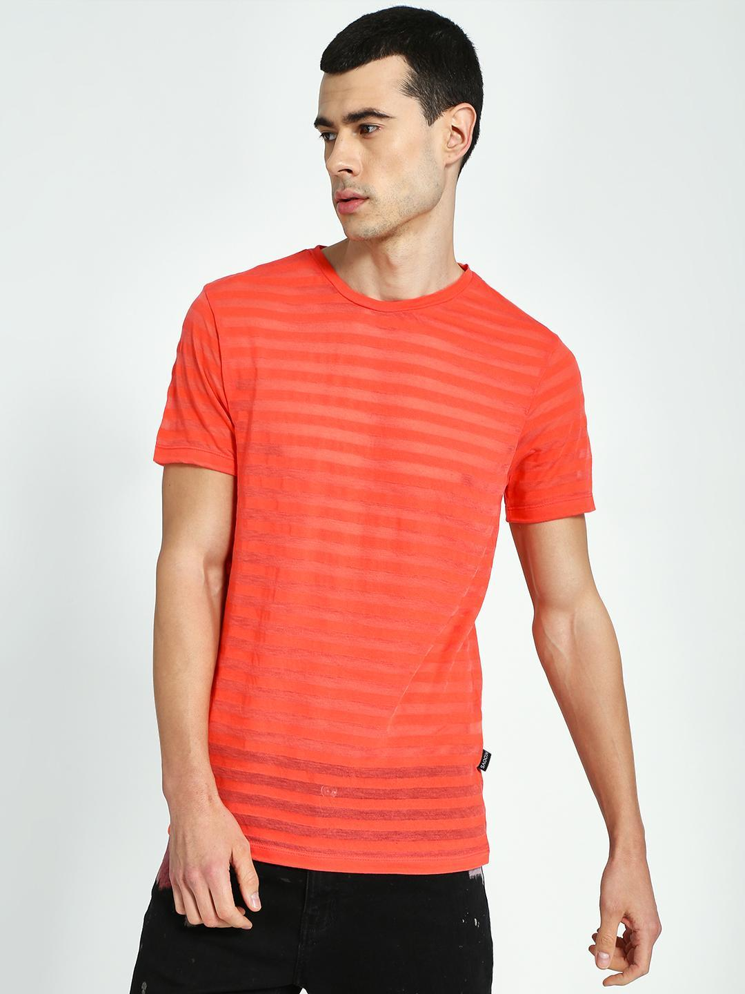 KOOVS Orange All Over Self Stripe T-Shirt 1