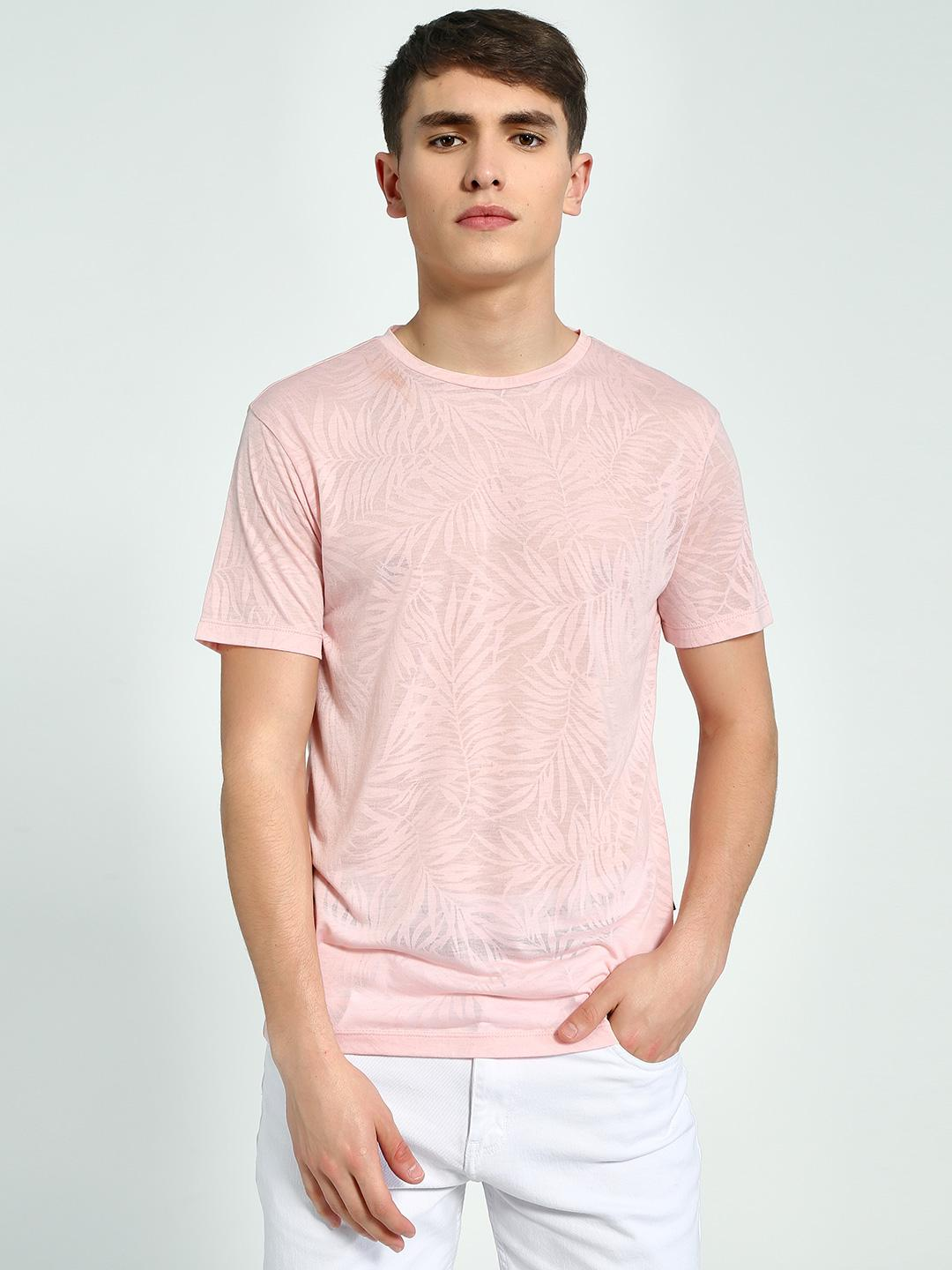 KOOVS Pink All Over Self Print T-Shirt 1