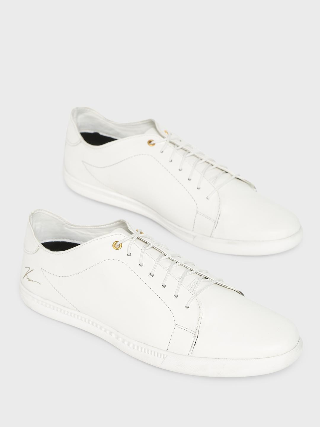 Buy KOOVS White Lace-Up Sneakers for