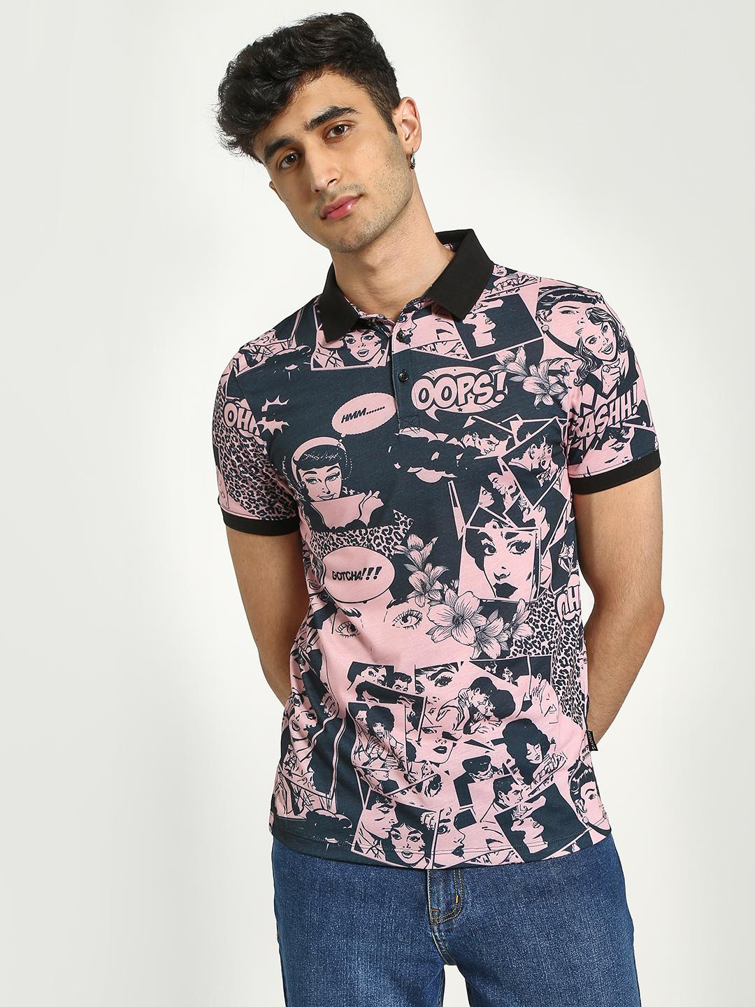 KOOVS Multi Comic Print Polo Shirt 1