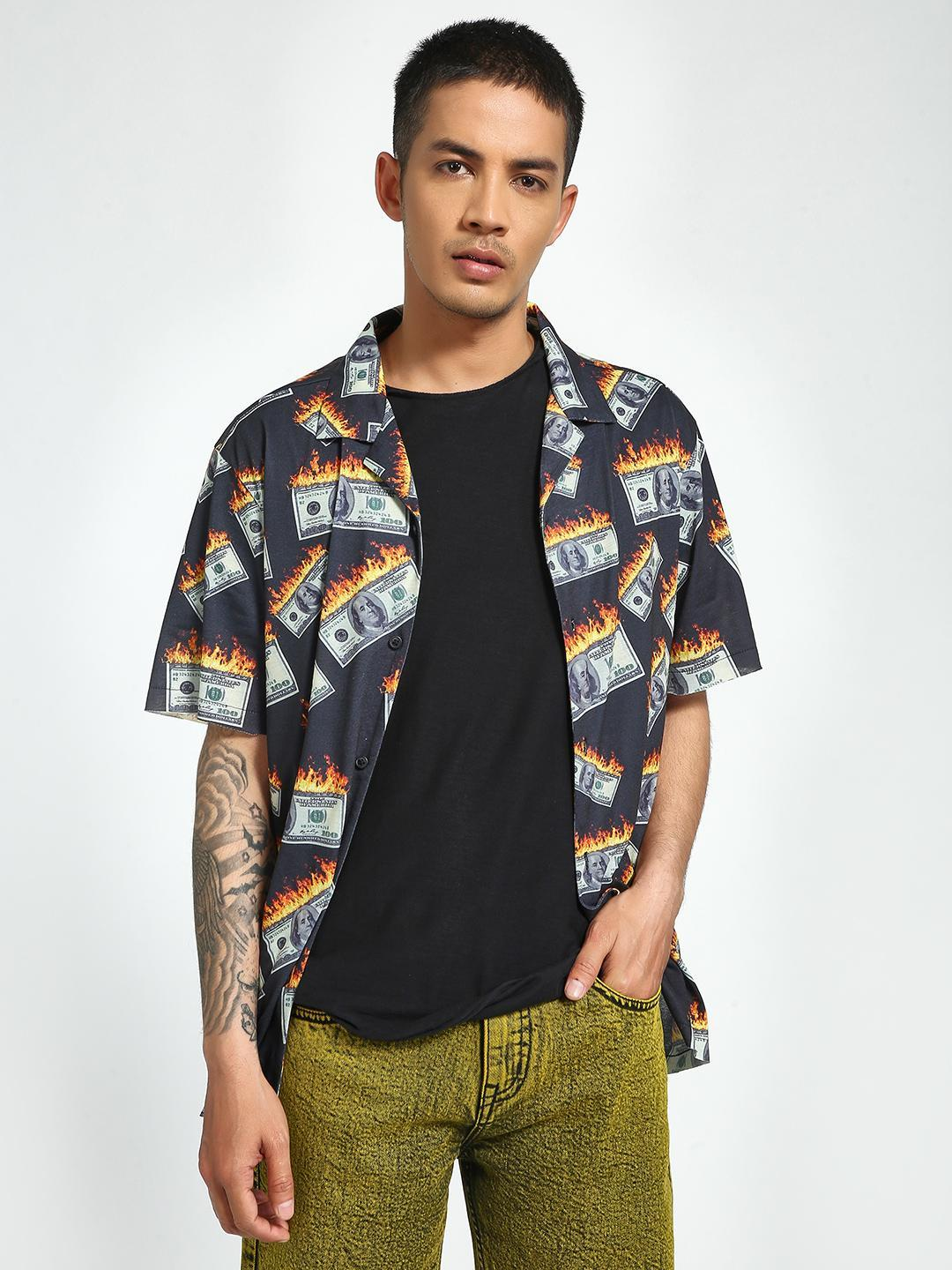 KOOVS Multi Money On Fire Cuban Collar Shirt 1