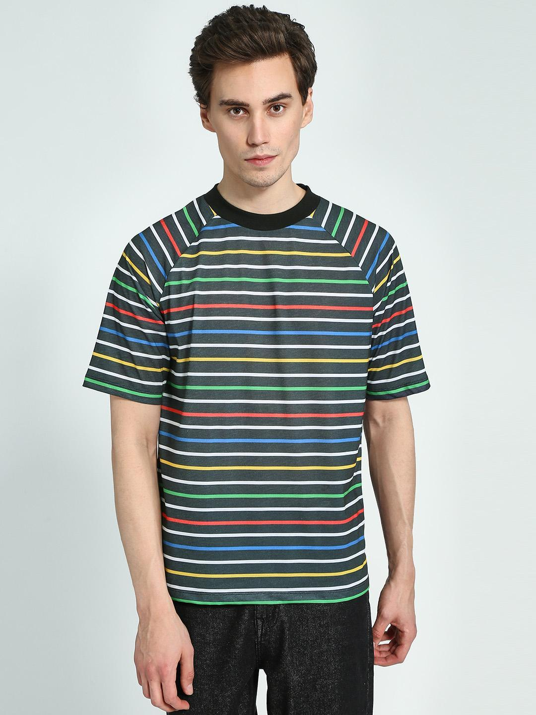 KOOVS Multi Horizontal Stripe Raglan Sleeve T-Shirt 1