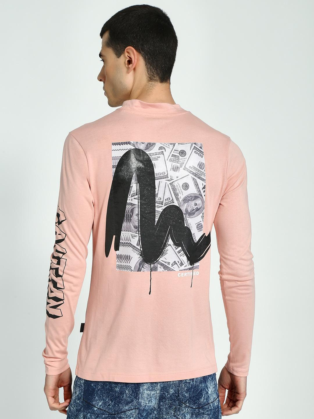 KOOVS Light Pink Muscle Fit Long Sleeve T-Shirt 1