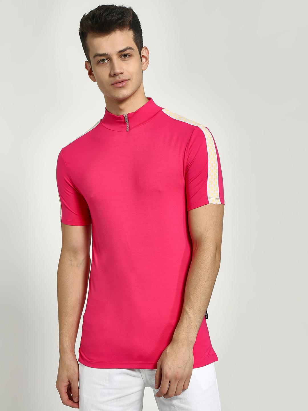 KOOVS Pink Funnel Neck Muscle Fit T-Shirt 1