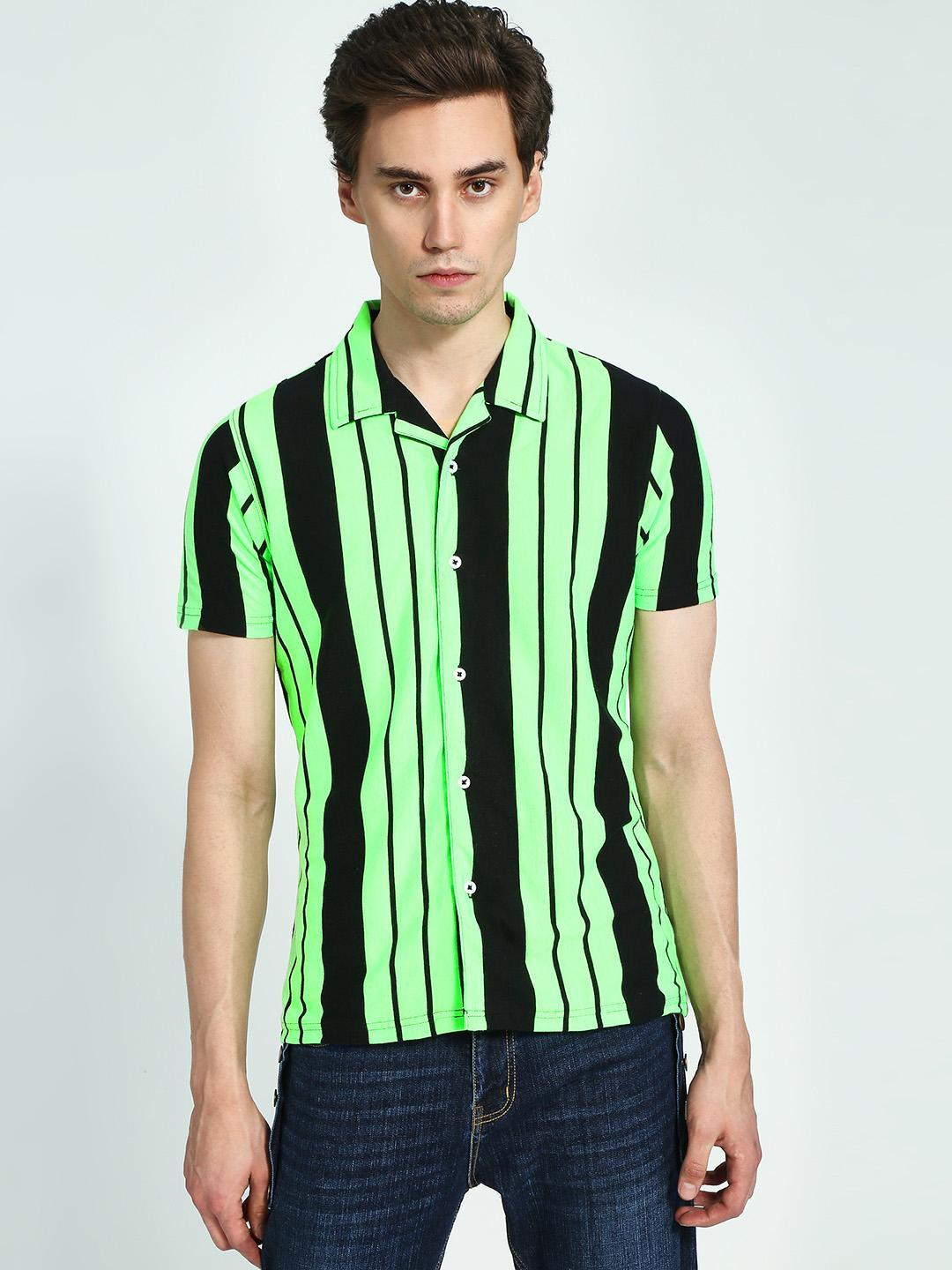 Garcon Green Yarn-Dyed Vertical Stripe Short Sleeve Shirt 1