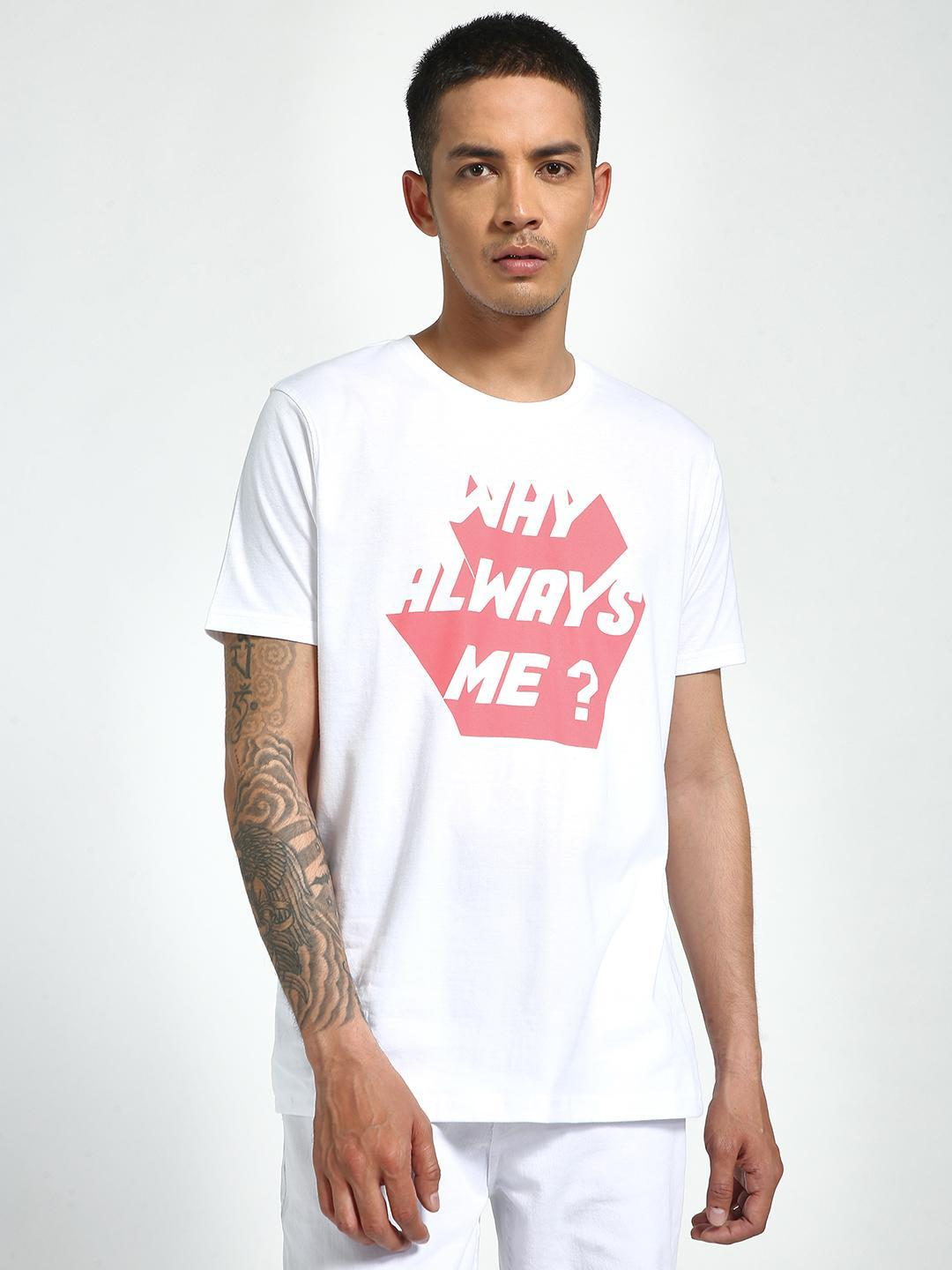 Garcon White Why Always Me Placement Print T-Shirt 1