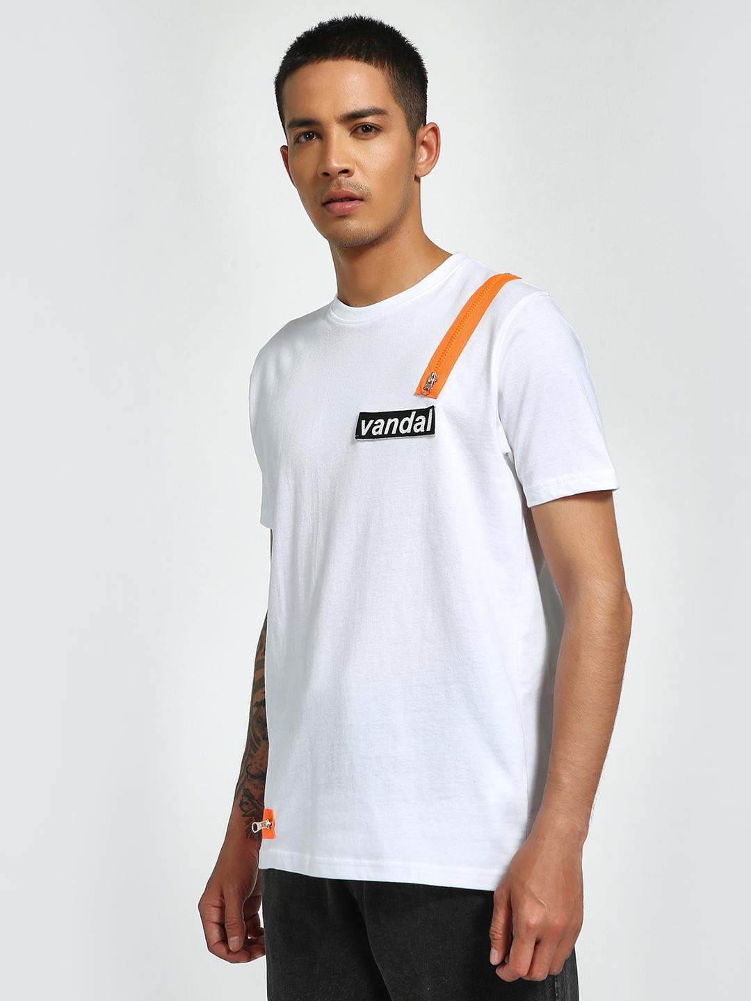 Garcon White Velcro & Zip Patch Crew Neck T-Shirt 1