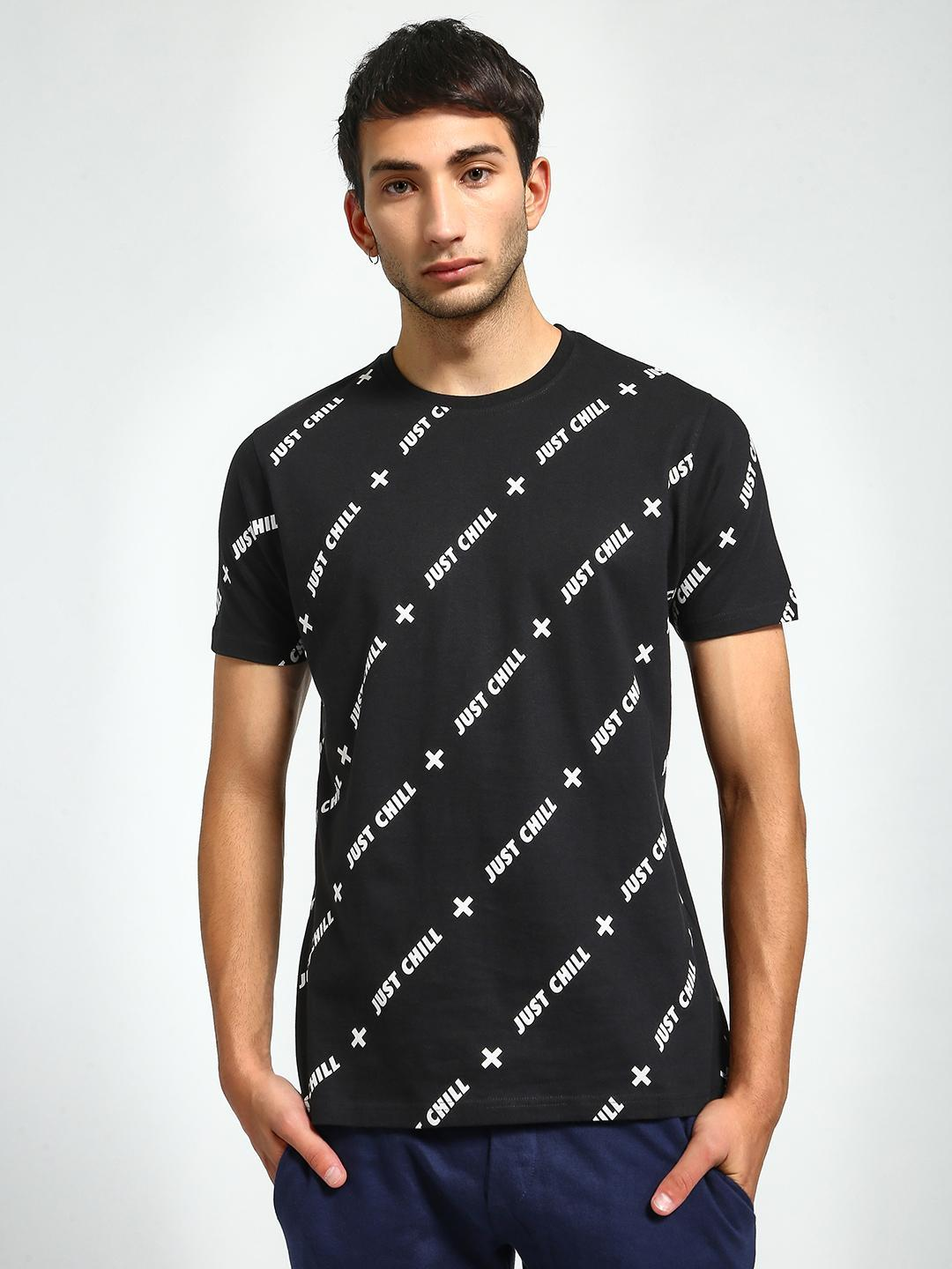 Garcon Black Just Chill Print T-Shirt 1
