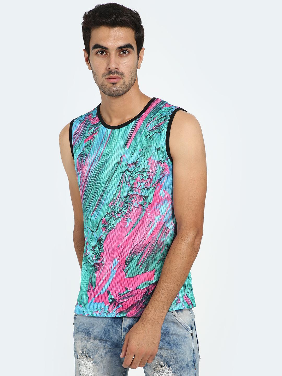Garcon Blue Sublimation Print Mesh Vest 1