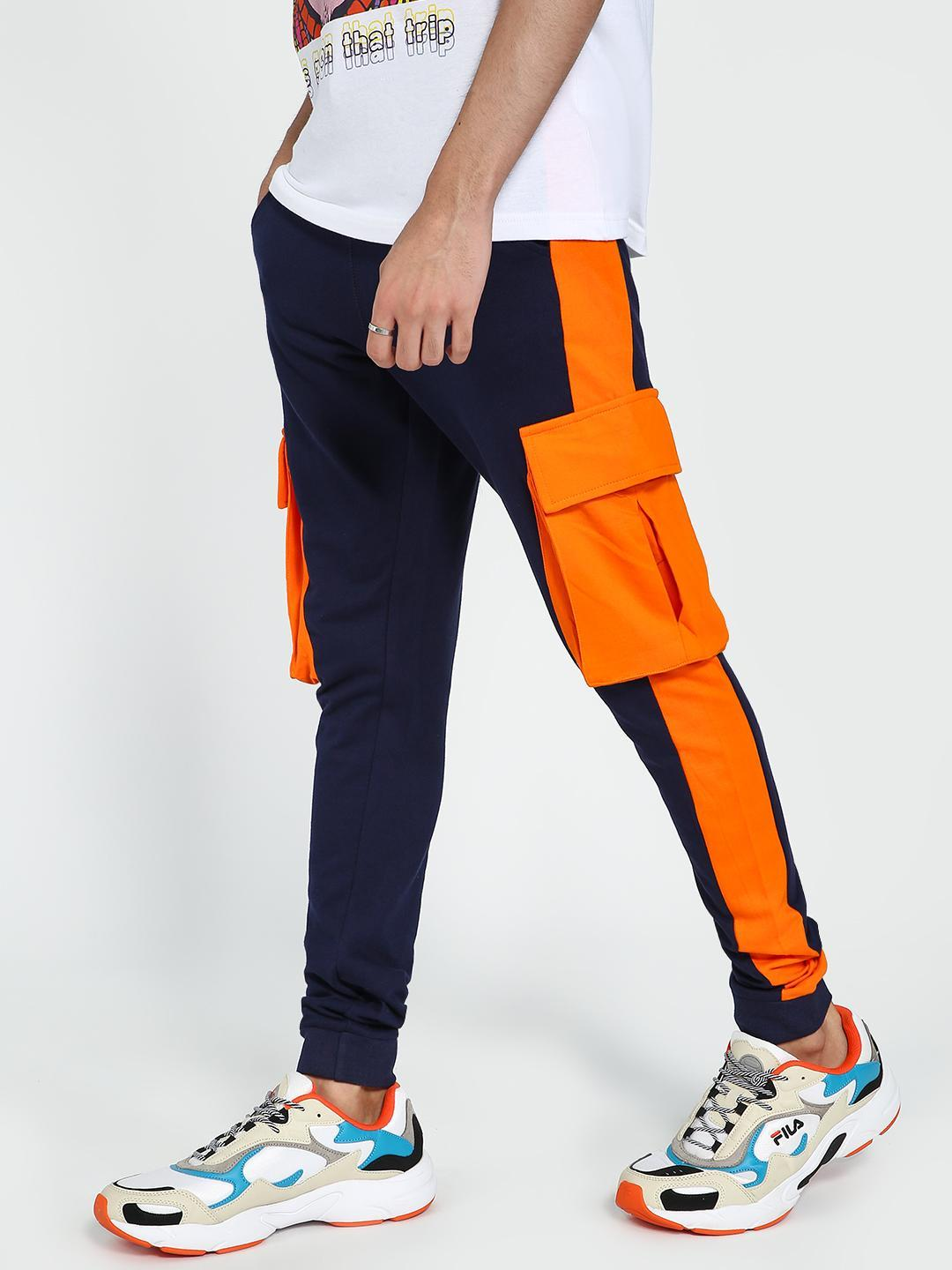 Garcon Navy Blue Contrast Side Tape Utility Joggers 1
