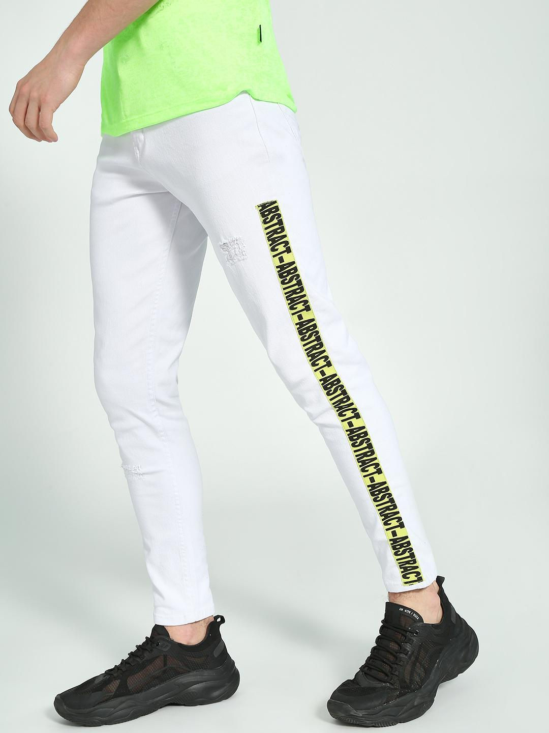 K Denim White KOOVS Side Tape Cropped Skinny Jeans 1