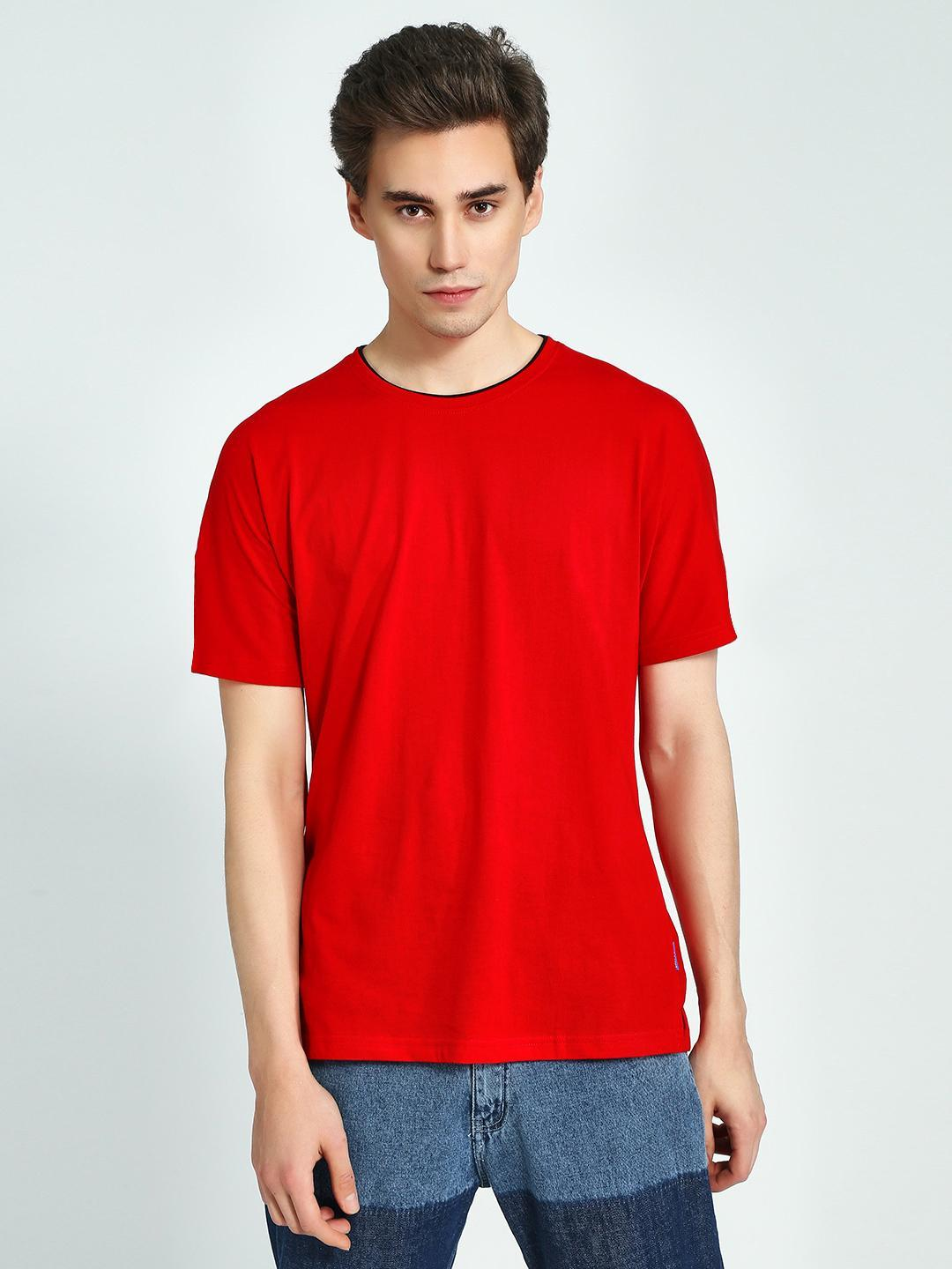 Blue Saint Red Contrast Ribbed Crew Neck T-Shirt 1