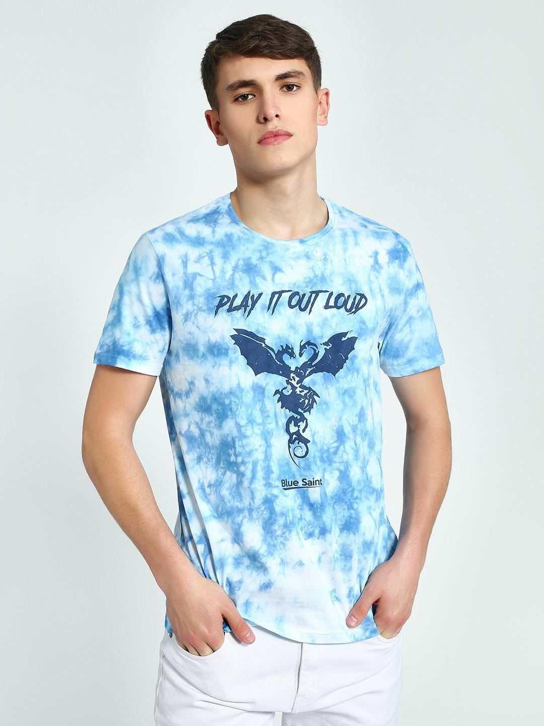 Blue Saint Blue Tie & Dye Slogan Dragon Print T-Shirt 1