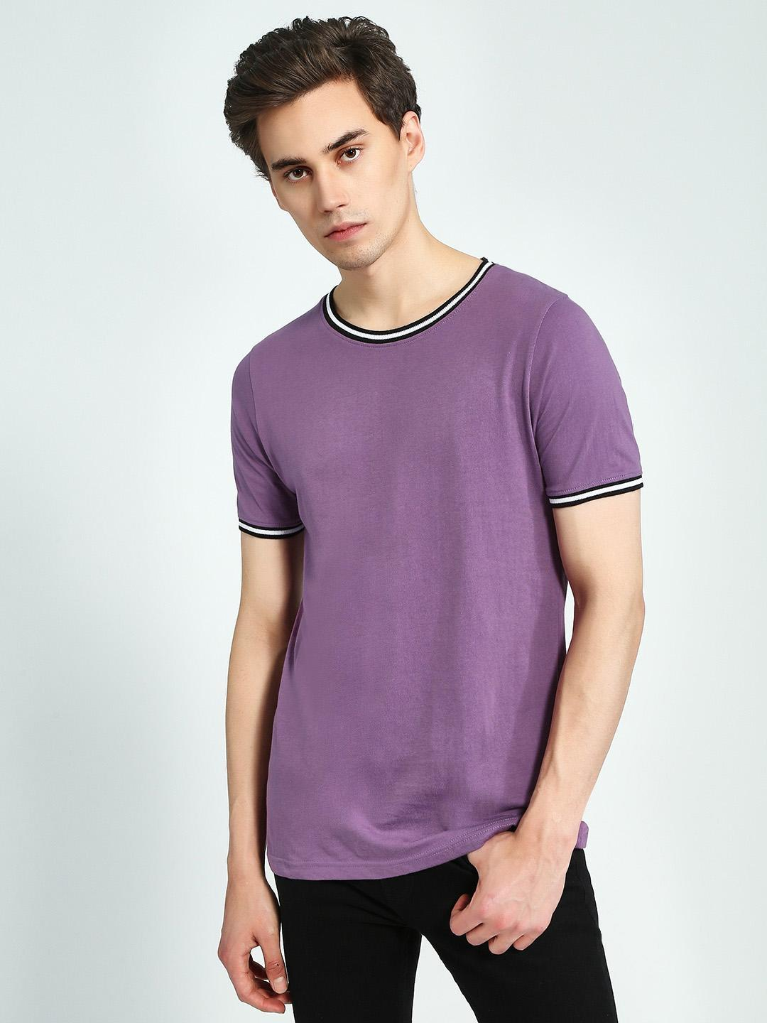 Blue Saint Purple Crew Neck Ringer T-Shirt 1