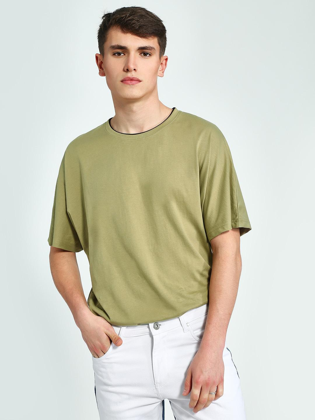 Blue Saint Green Contrast Ribbed Crew Neck T-Shirt 1