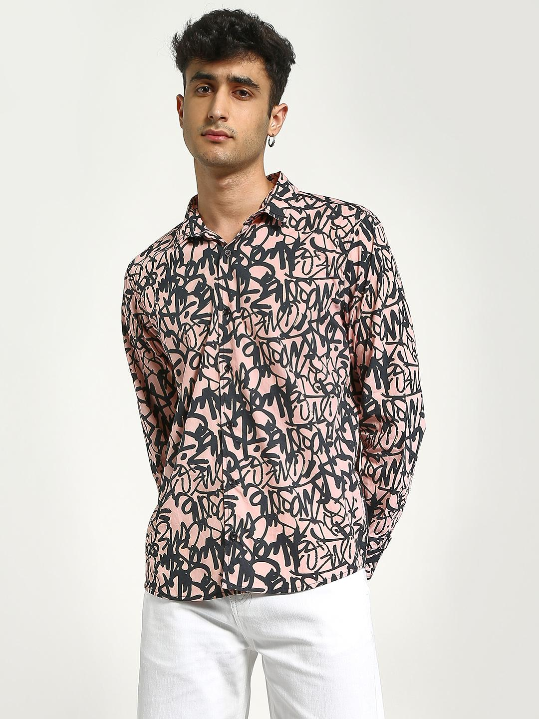 KOOVS Pink Scribble Print Long Sleeve Shirt 1