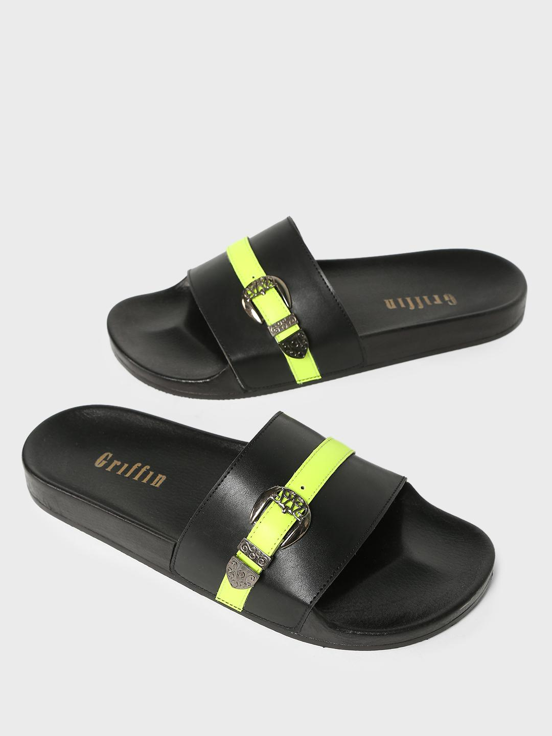 Griffin Multi Contrast Buckle Panel Slides 1