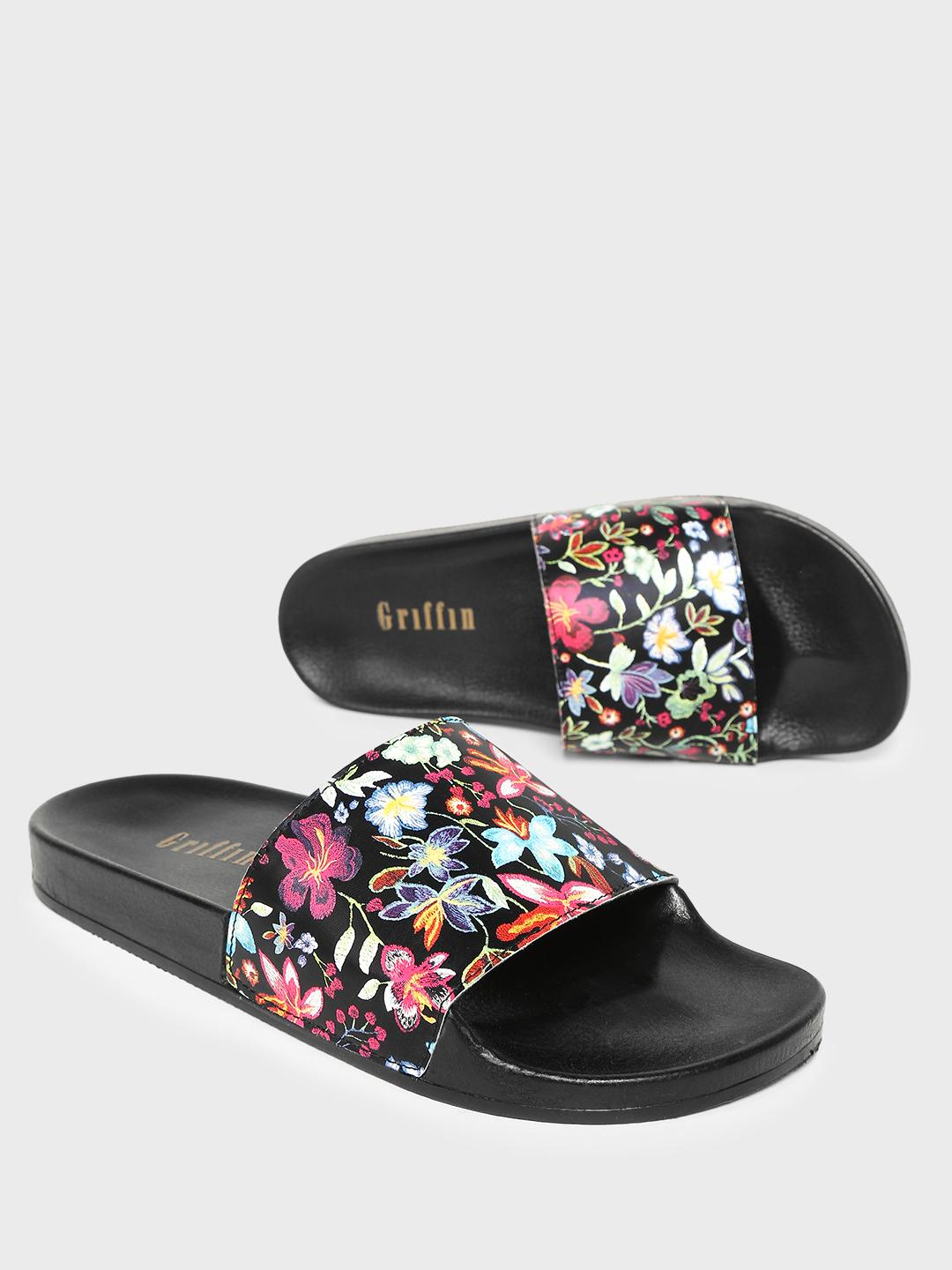 Griffin Multi Floral Print Slides 1