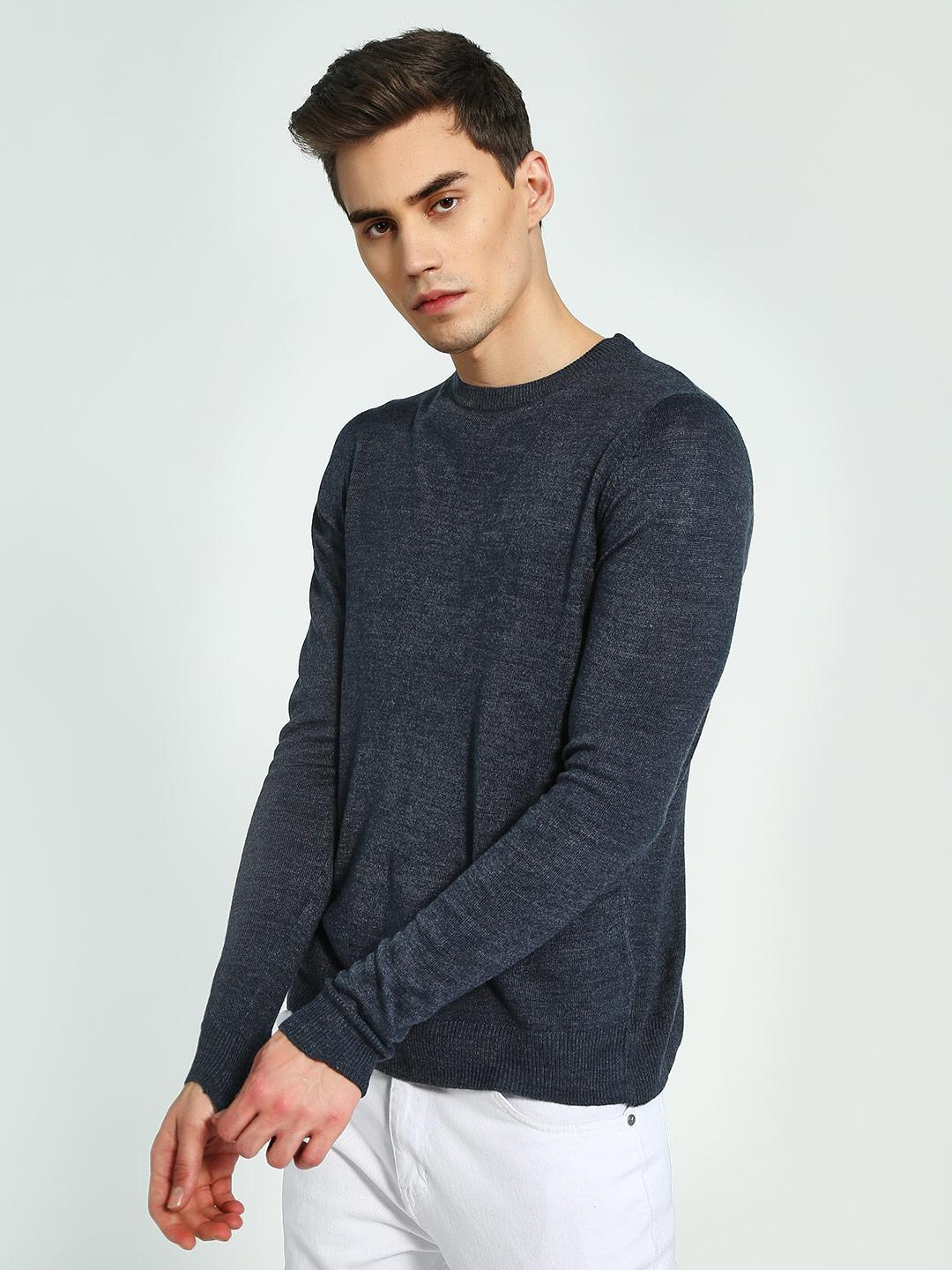 Brave Soul Blue Crew Neck Knitted Pullover 1
