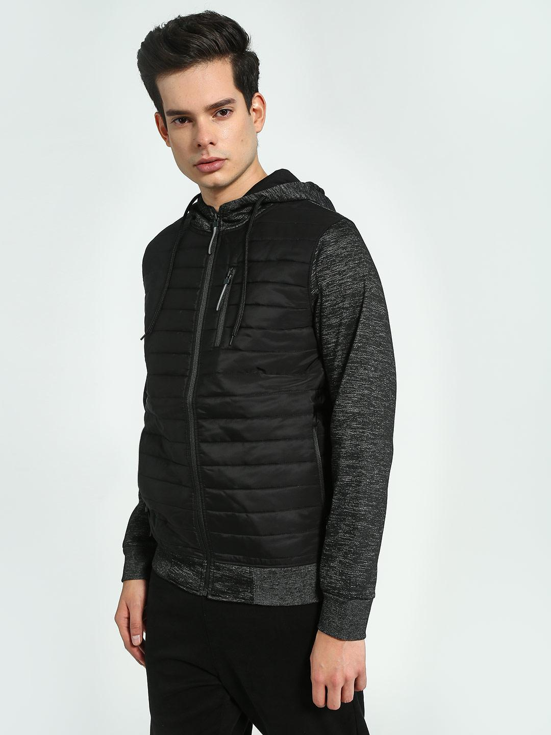 Brave Soul Black Quilted-Front Hooded Jacket 1