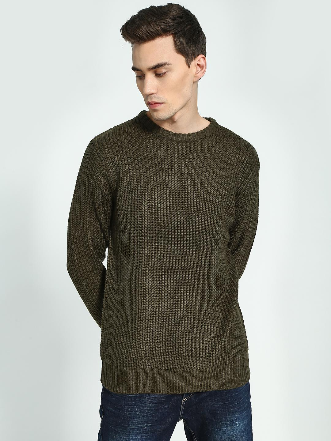 Brave Soul Brown Crew Neck Cable Knit Pullover 1