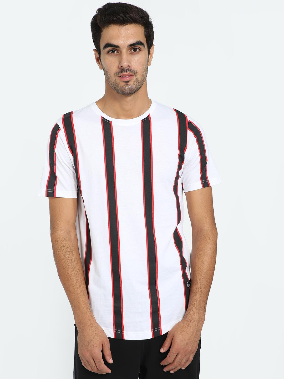 Kultprit Multi Macro Vertical Stripe Crew Neck T-Shirt 1