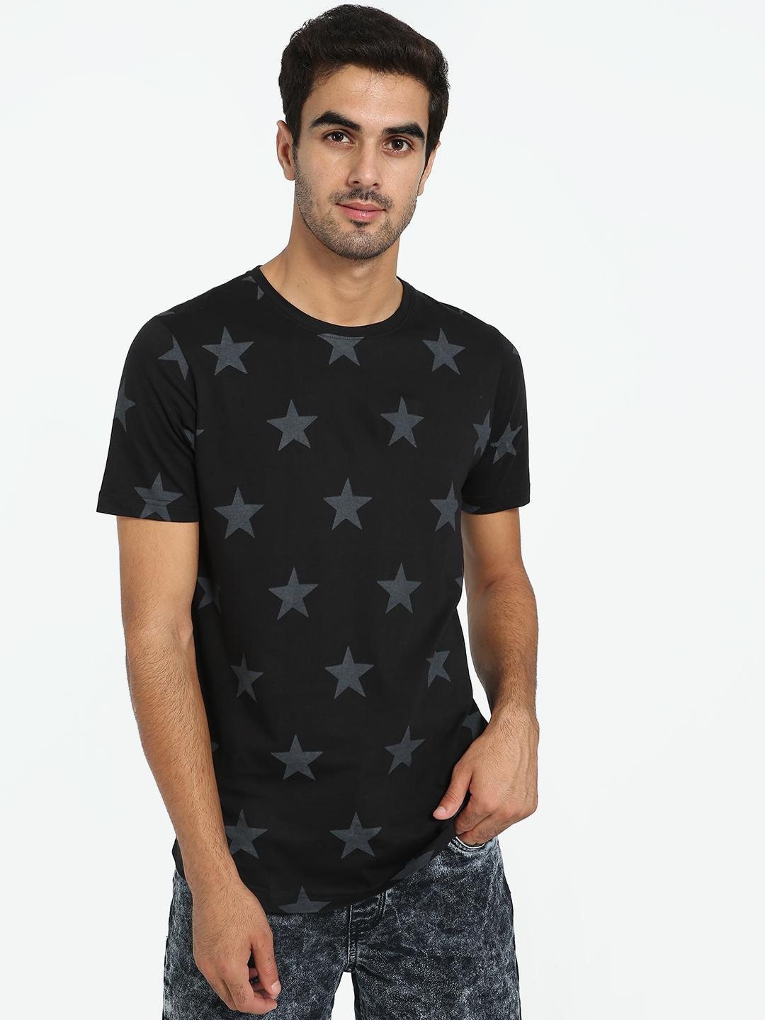 Kultprit Black All Over Star Print T-Shirt 1