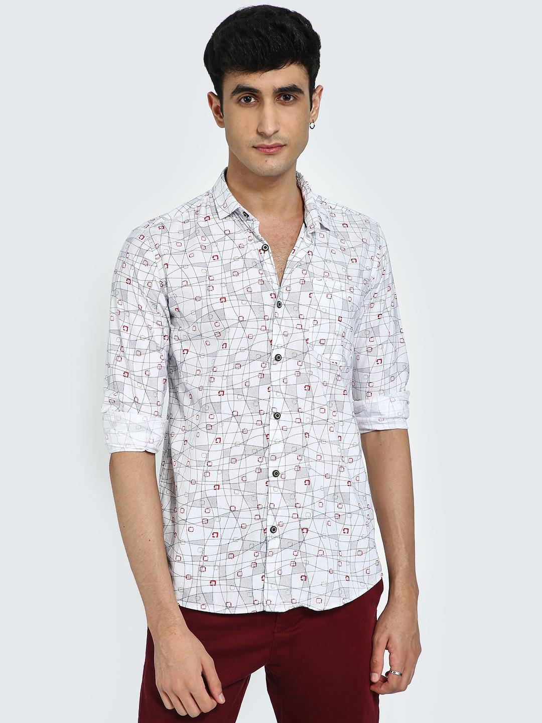 AMON White All Over Geometric Print Casual Shirt 1