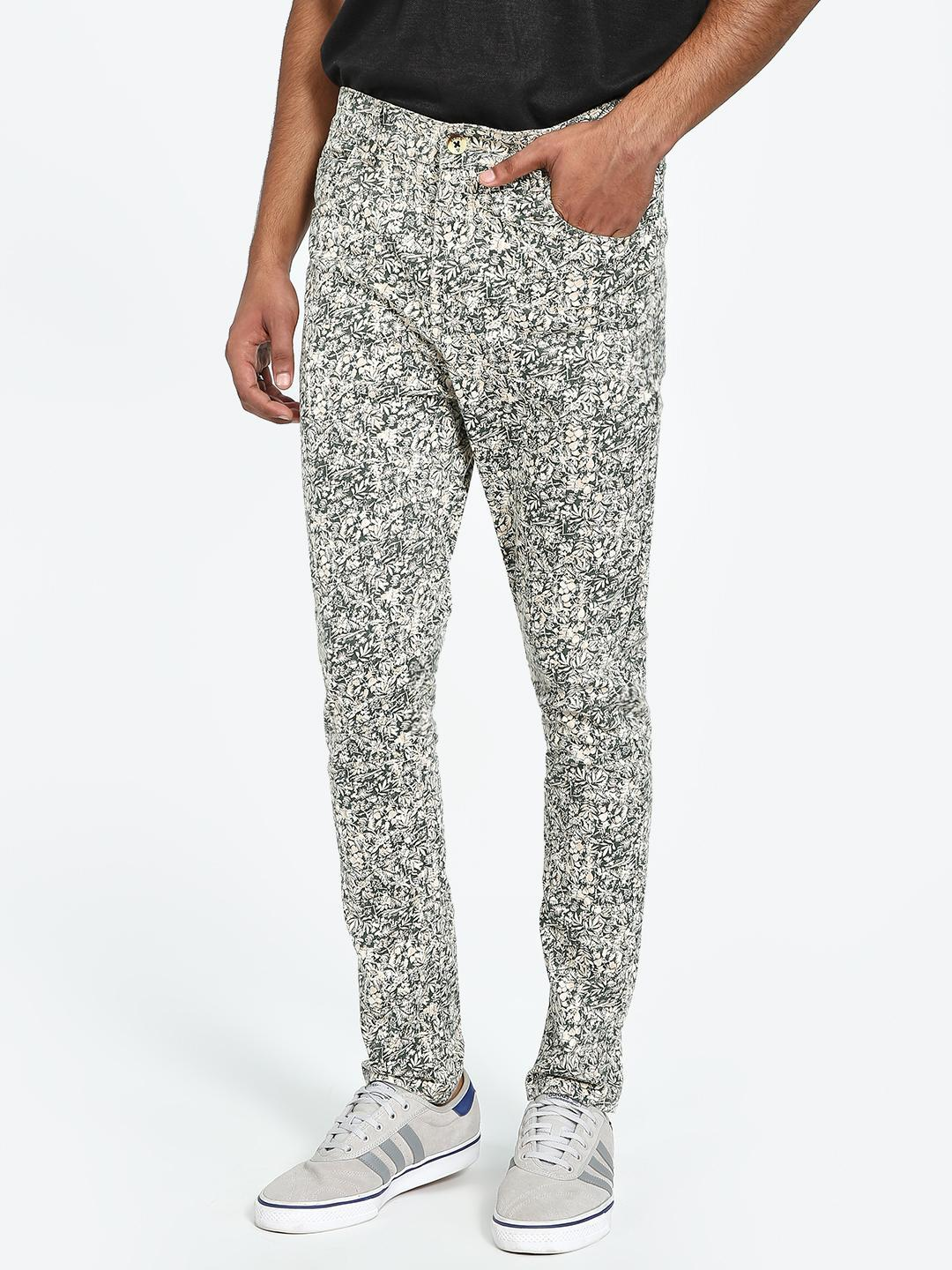 REALM Multi Floral Print Slim Trousers 1