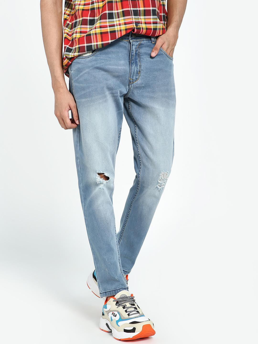 REALM Light Blue Light Wash Ripped Knee Slim Jeans 1