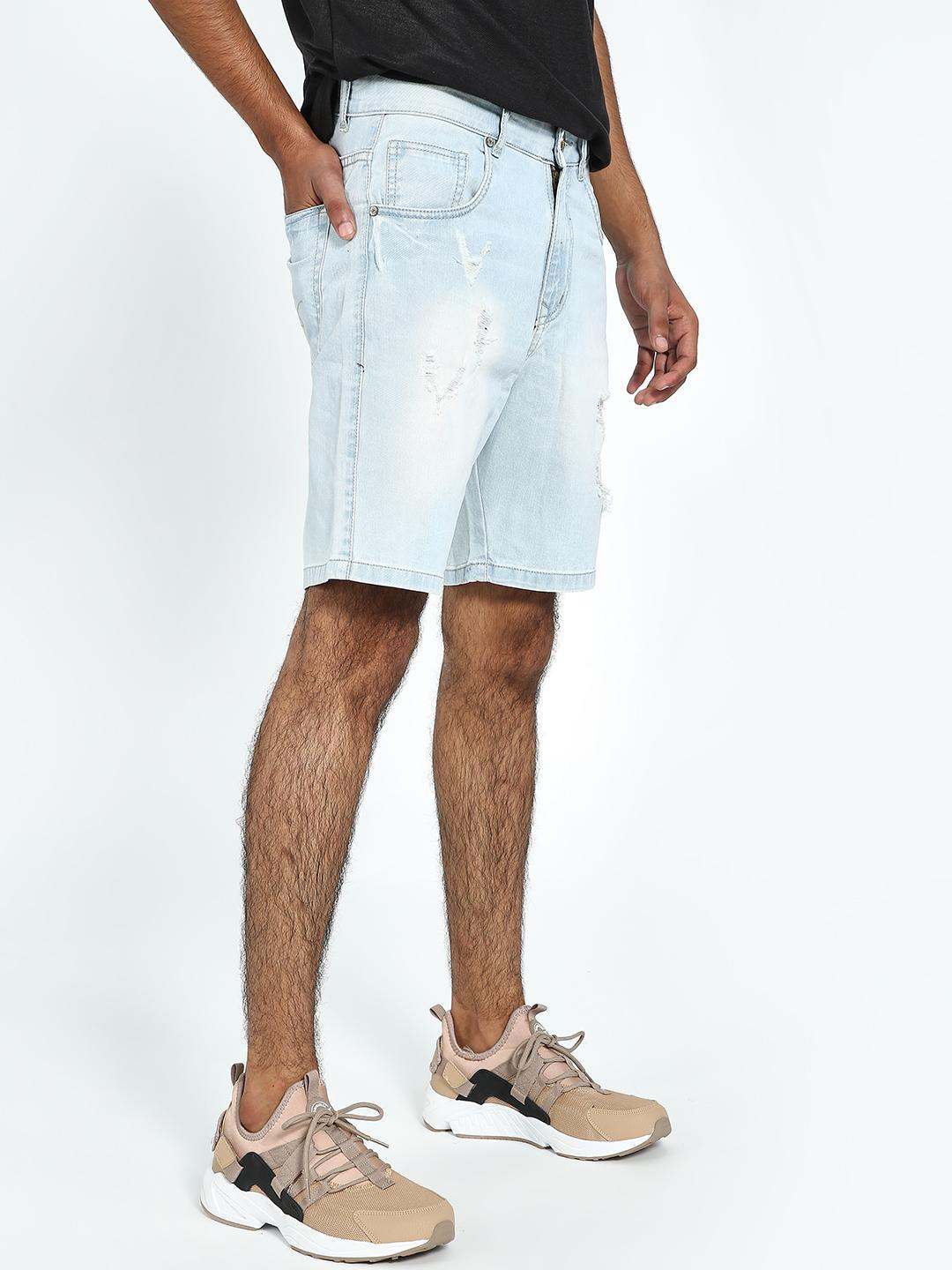 REALM Light Blue Ice Wash Distressed Denim Shorts 1