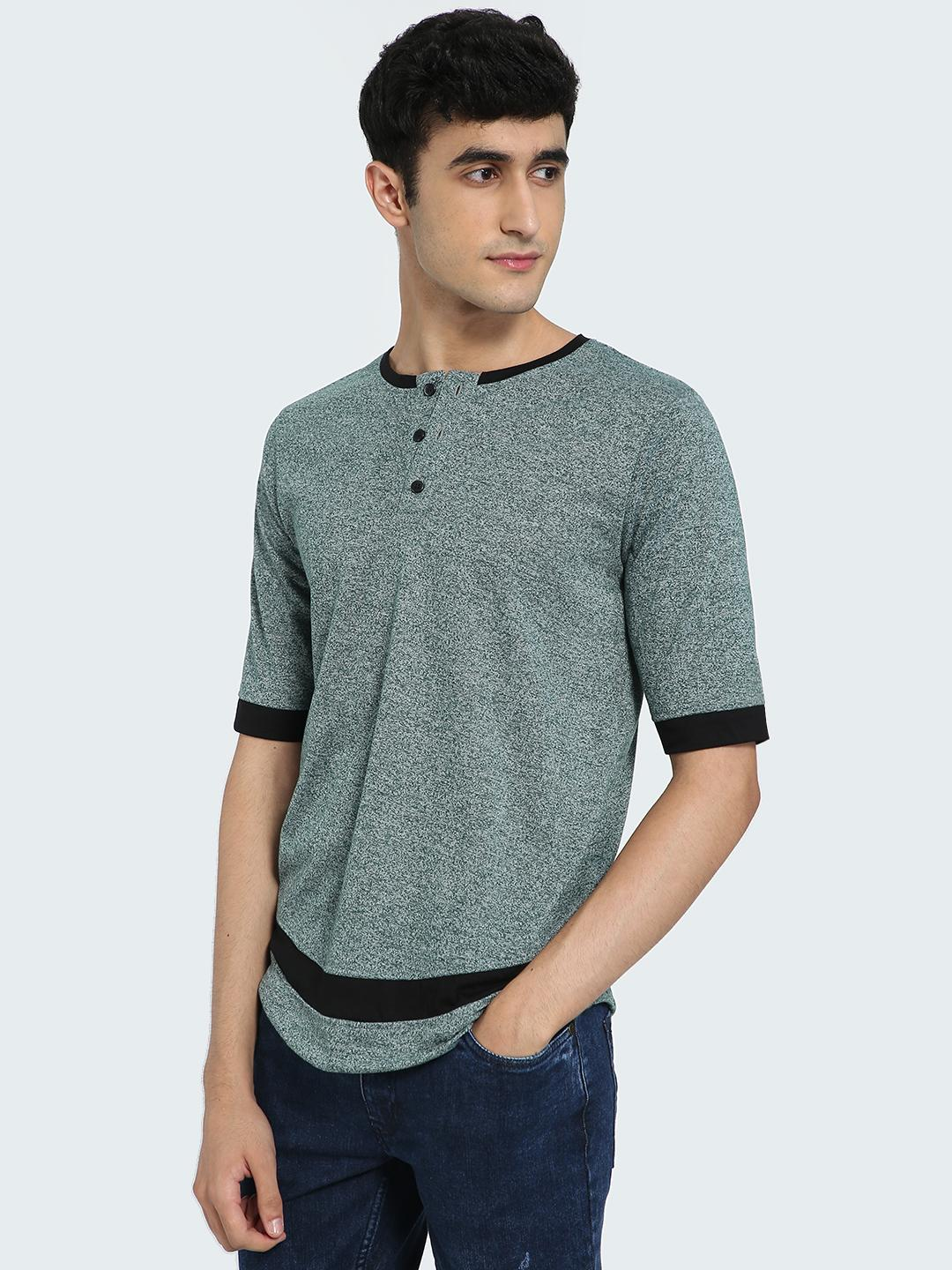 IMPACKT Grey Contrast Panel Henley Neck T-Shirt 1