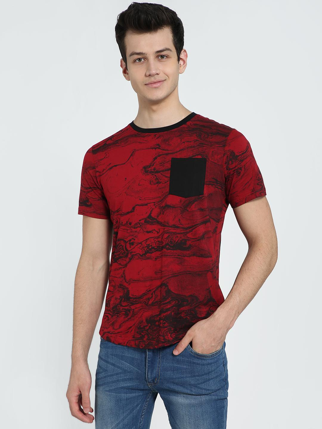 IMPACKT Maroon Patch Pocket Printed Crew Neck T-Shirt 1