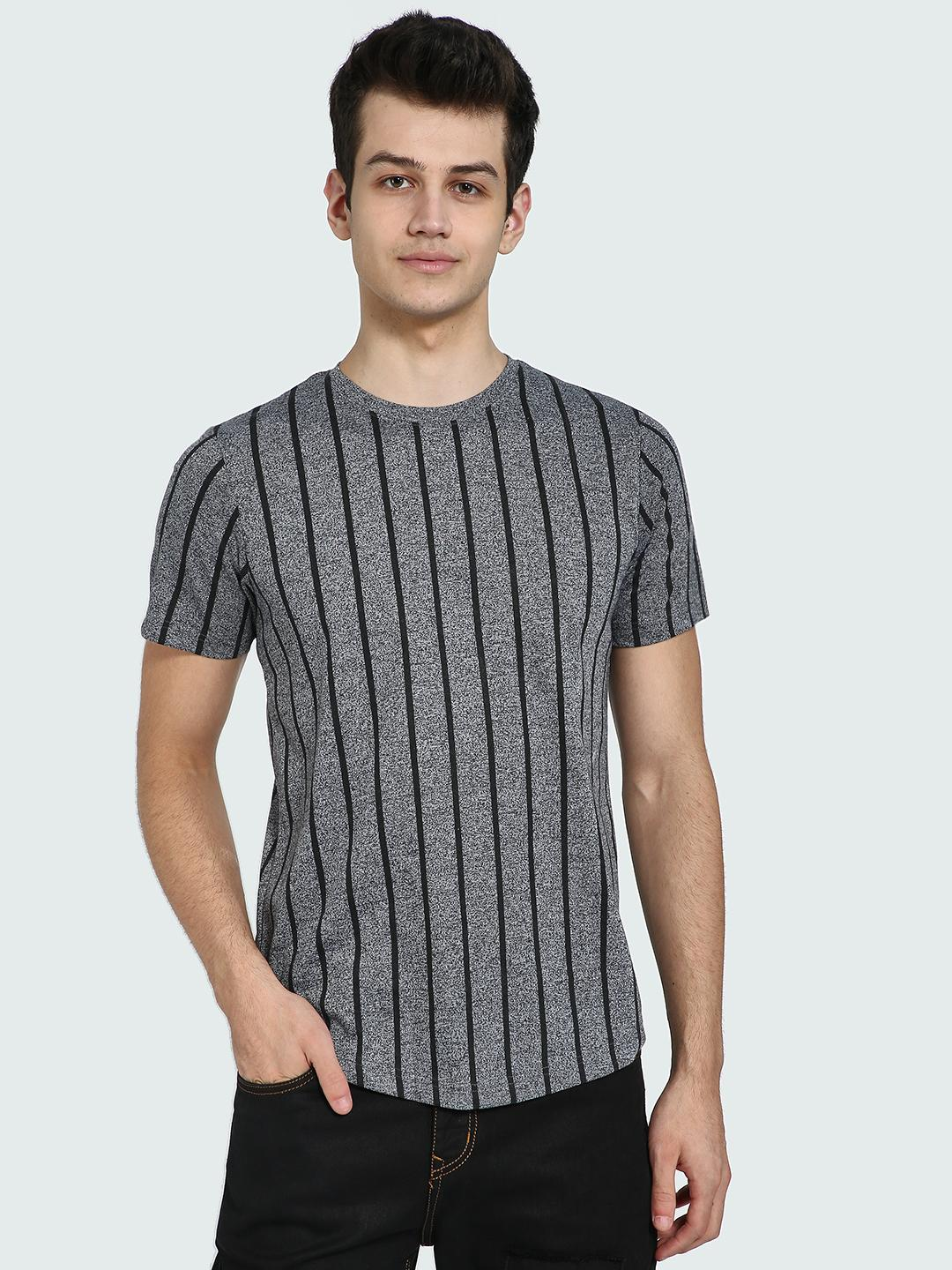 IMPACKT Grey Vertical Stripe Crew Neck T-Shirt 1