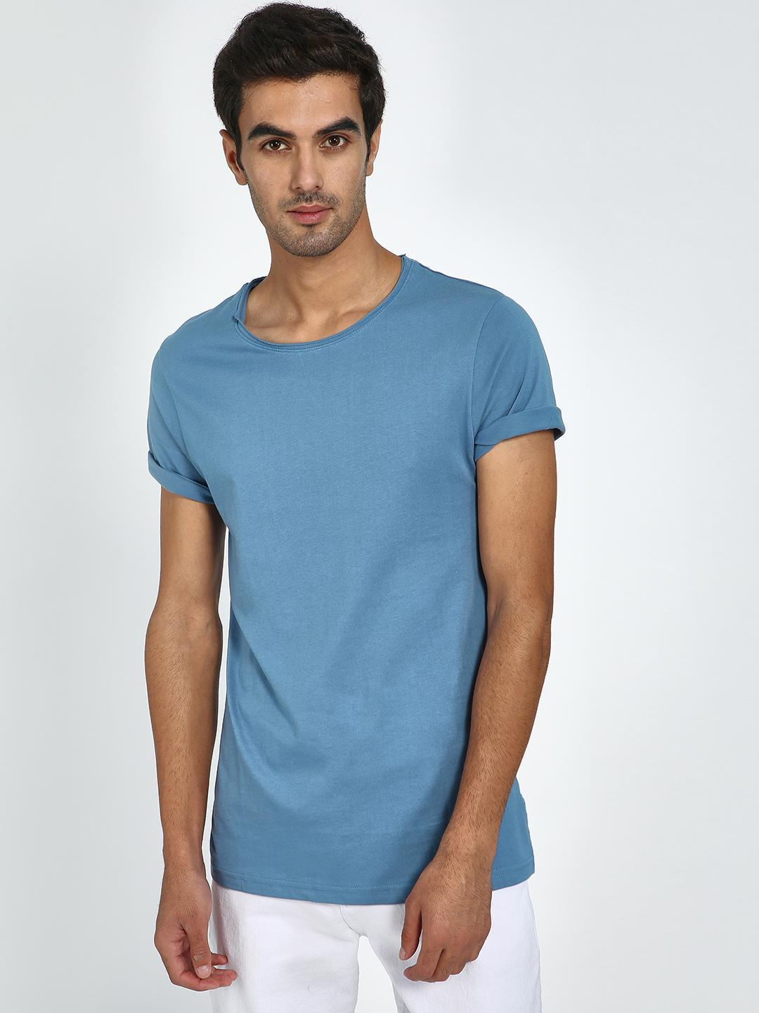 Blue Saint Blue Raw Edge Round Neck T-Shirt 1