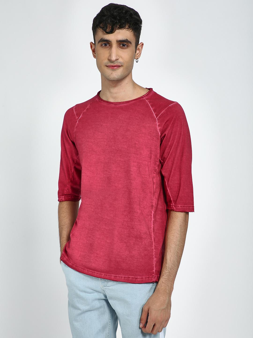 Blue Saint Maroon Washed Raw Hem Long Sleeve T-Shirt 1