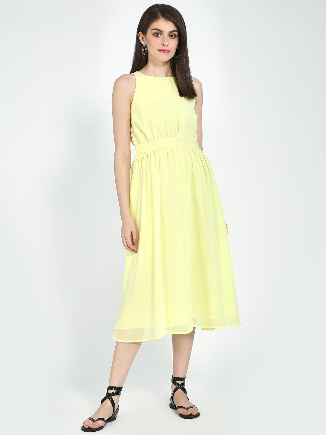 Blue Saint Yellow Basic Midi Dress 1