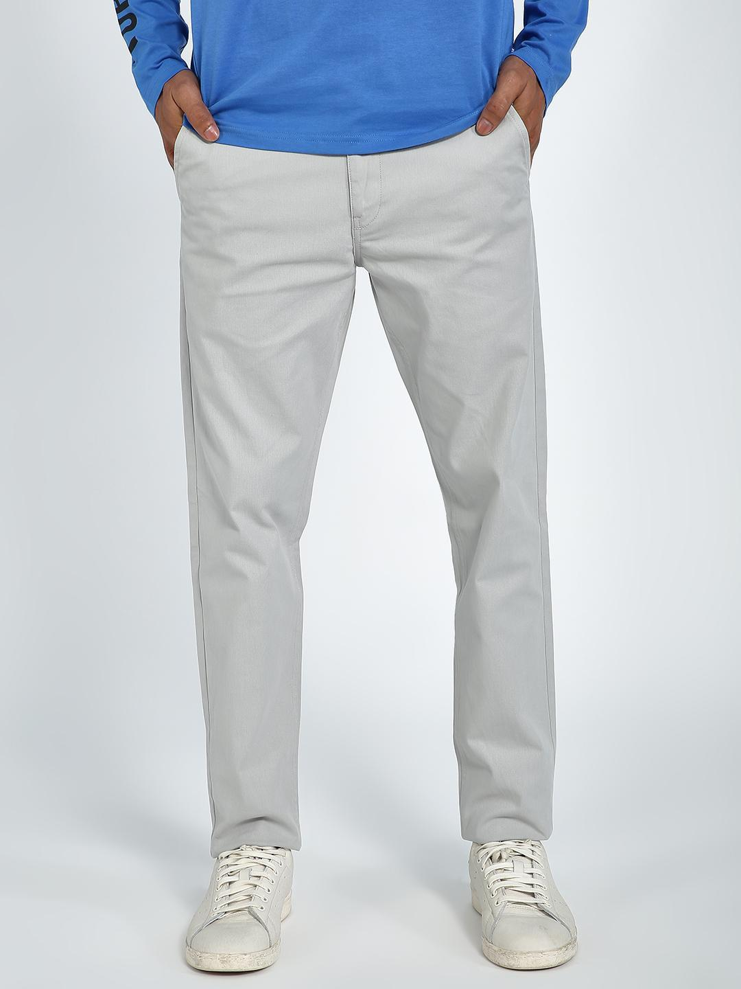 Blue Saint Grey Basic Slim Fit Trousers 1