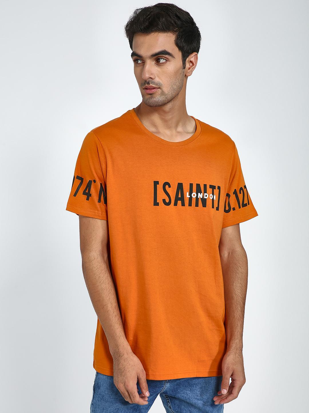 Blue Saint Orange Text Placement Print T-Shirt 1